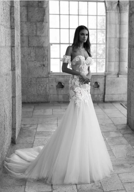 Beaded Flowers Wedding Dress
