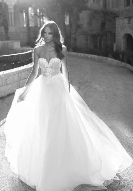 Embroidered Corset Tulle Wedding Dress