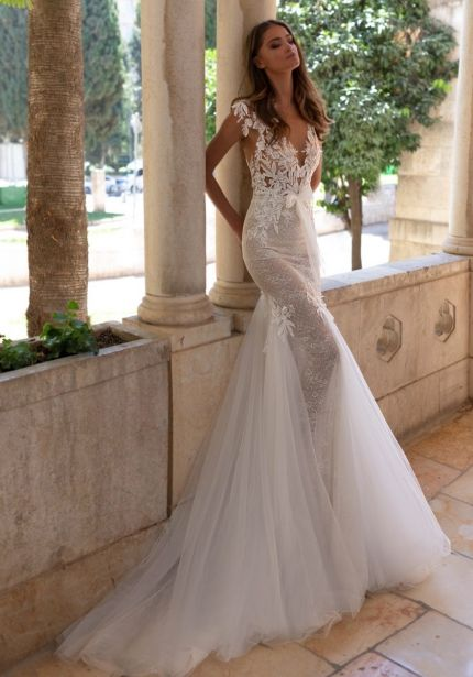 Beaded Wedding Dress with Keyhole Back