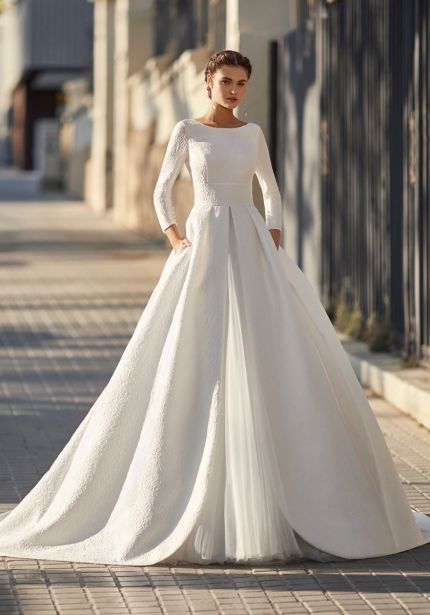 Brocade Wedding Dress with Open Back
