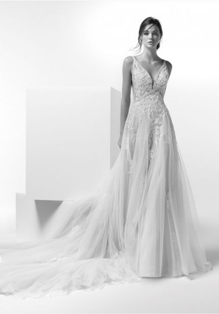 Tulle Wedding Dress with Plunging Back