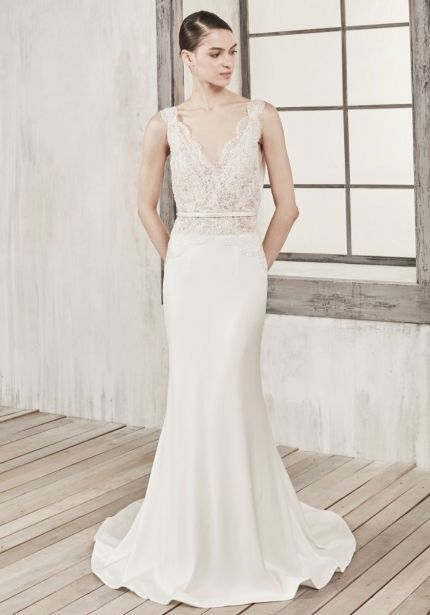 Beaded Crepe Gown with Plunging Back
