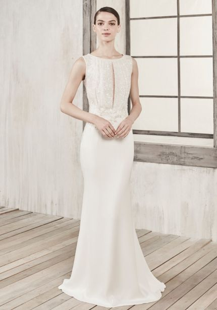 Two-Piece Effect Crepe Wedding Dress