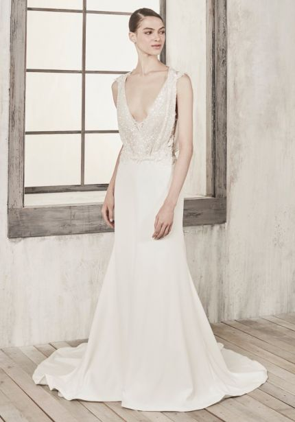 Sequined Crepe Wedding Dress with Keyhole Back