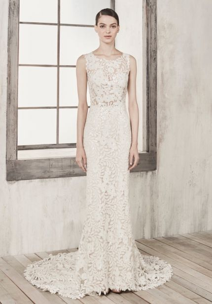 Sequined Wedding Dress with Sheer Bodice