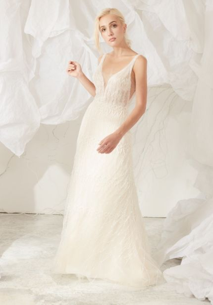 Heavily Beaded Wedding Dress with Fringes