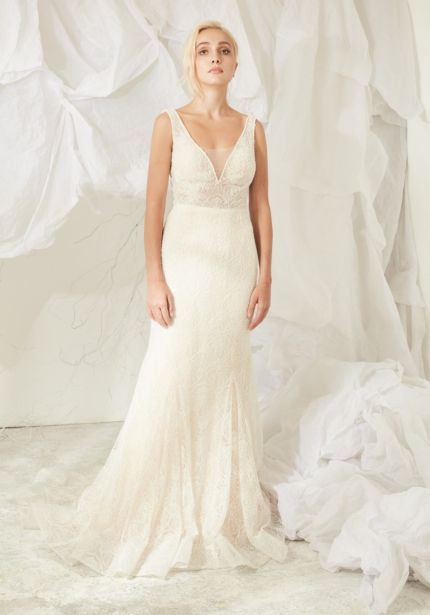 Heavily Beaded Tulle Wedding Dress