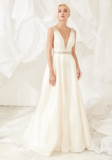 Satin Wedding Dress with Plunging Back