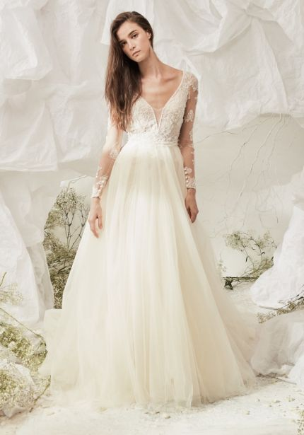 Embellished Long Sleeves Tulle Gown