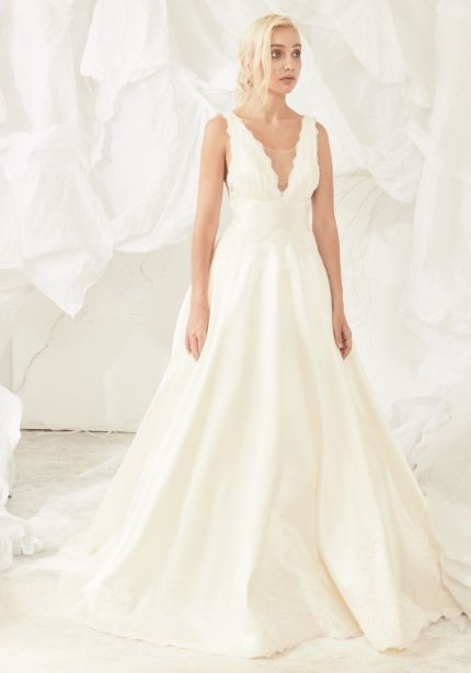 Beaded Satin Ball Gown with Open Back