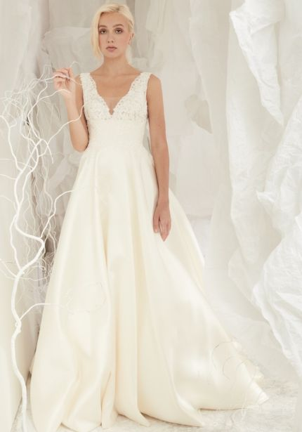 Beaded Satin Ball Gown