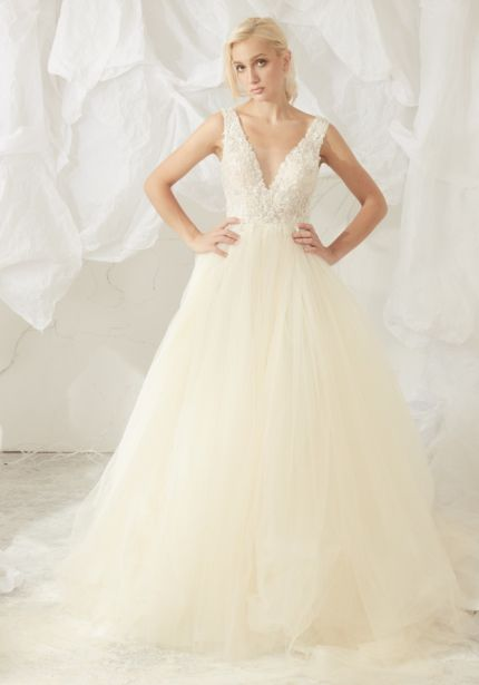 Heavily Beaded Tulle Ball Gown