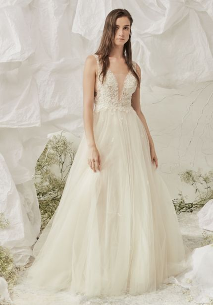 Embellished Tulle Wedding Dress with Open Back