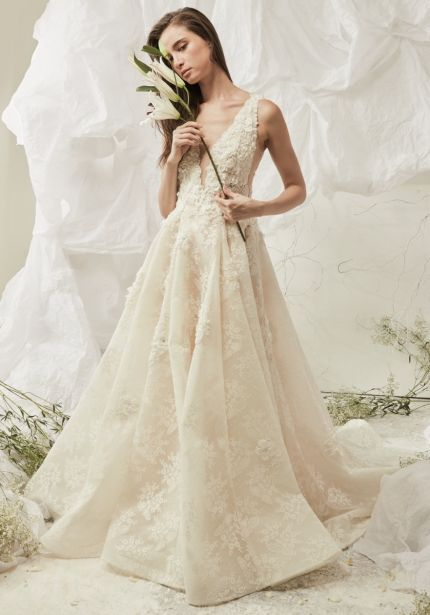 Floral Blossom Lace Ball Gown