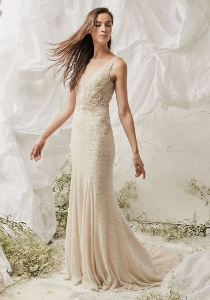 Sequined Wedding Dress with Low Back