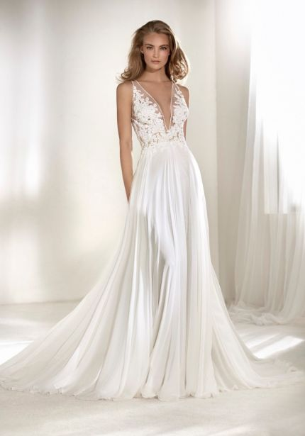 Embroidered V-Neck Chiffon Gown