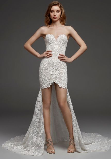 Embroidered High-Low Wedding Dress