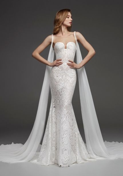 Strapless Mermaid Gown with Cape