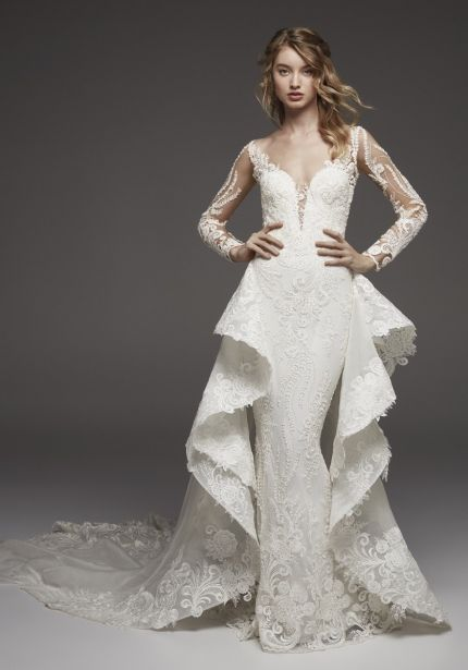 Mermaid Lace Wedding Dress with Ruffles