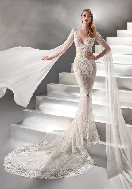 Mermaid Wedding Dress with Detachable Cape