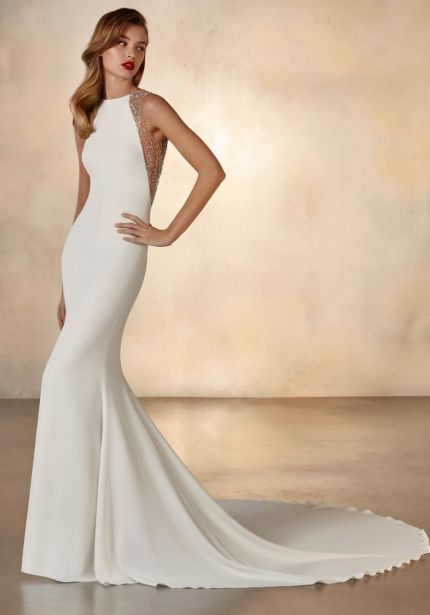 Crepe Wedding Dress with Meteor Beading Back