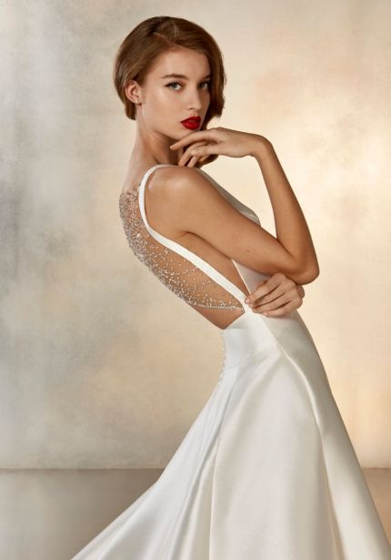 Beaded Back Mikado Wedding Dress