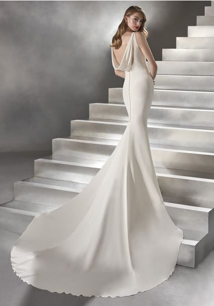 Crepe Wedding Dress with Draped Back