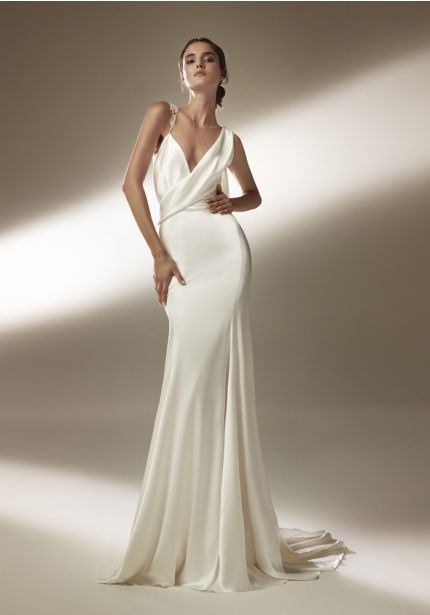Satin Wedding Dress With Sheer Back