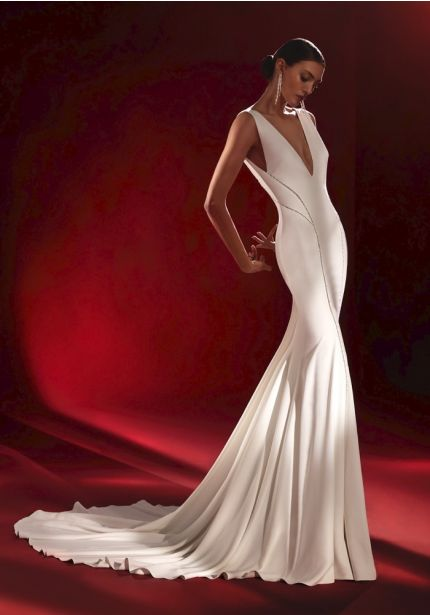 Crepe Wedding Dress With Low Back