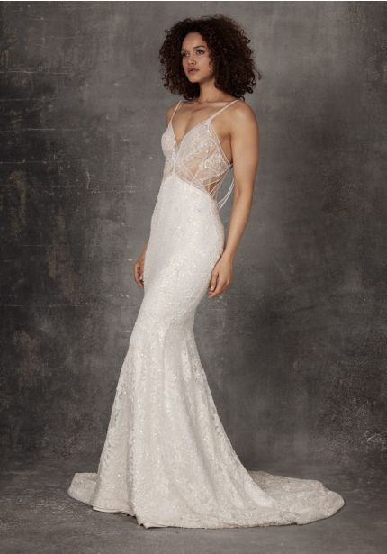 Heavily Beaded Wedding Dress With Open Back