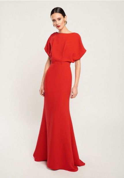 Red Crepe Gown With Open Back