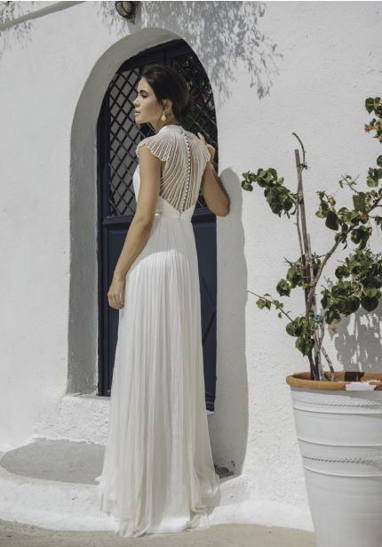 Flowing Tulle Gown With Beaded Back