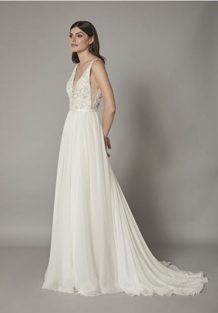Beaded Flowers Chiffon Wedding Gown