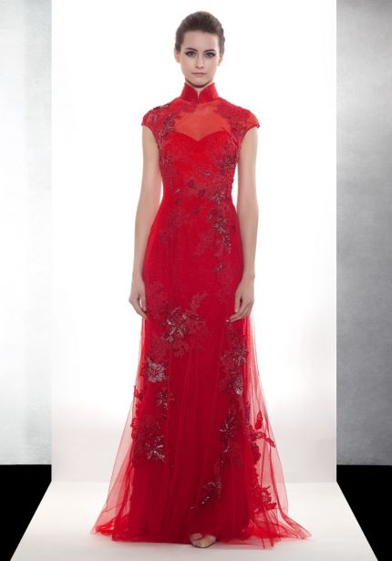 Beaded Red Cheongsam