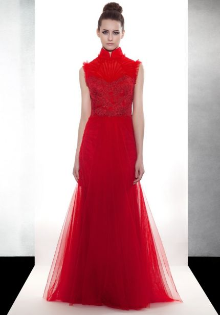 Embroidered Red Tulle Gown