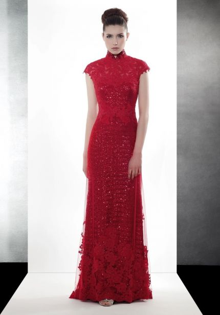 Sequined Red Cheongsam
