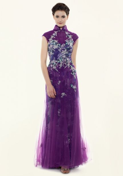 Heavily Beaded Purple Cheongsam
