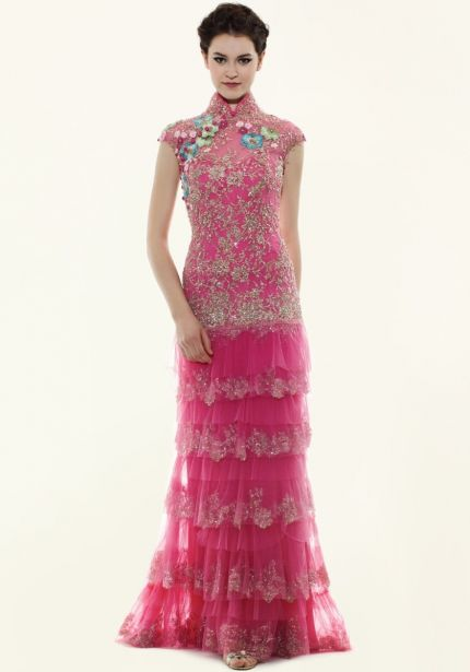 Embroidered Flowers Pink Cheongsam