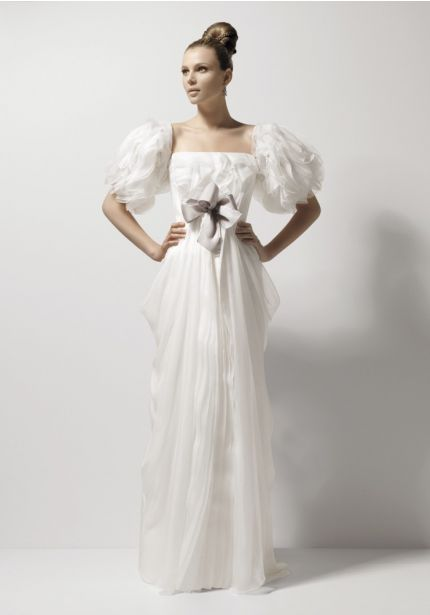 Draped Wedding Dress with Ruffle Sleeves