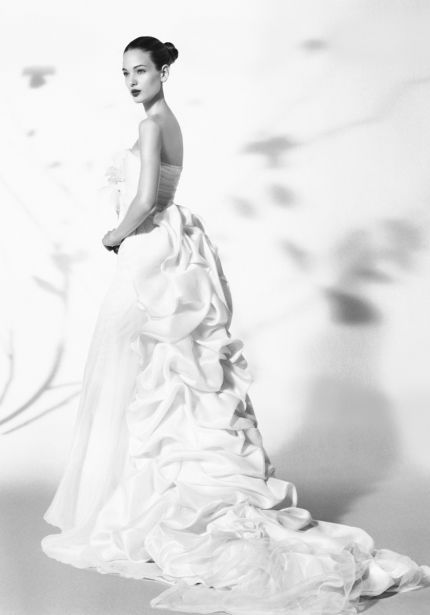 Wedding Dress with Ruffle Train