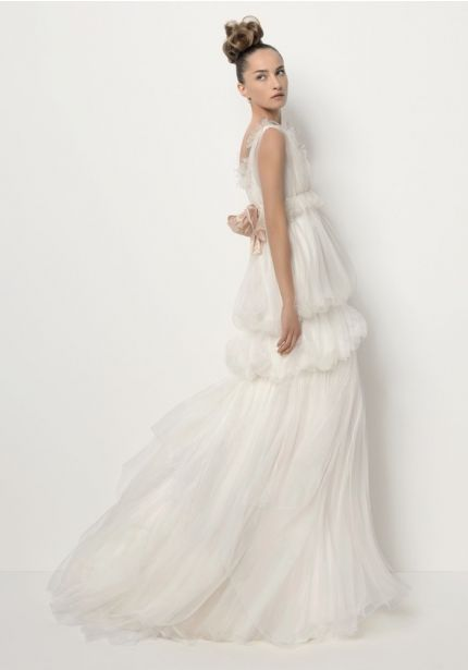 Tiered Wedding Dress with Small Bow Back