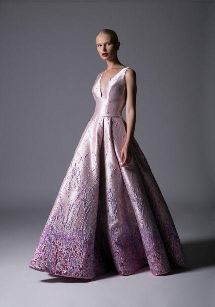 Ombre Effect V-Neck Ball Gown