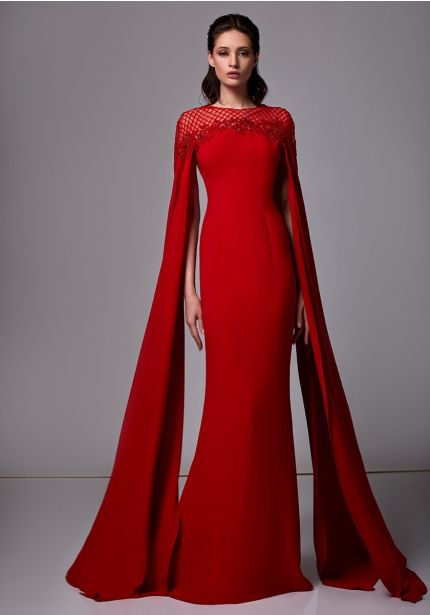 Beaded Long Red Crepe Gown