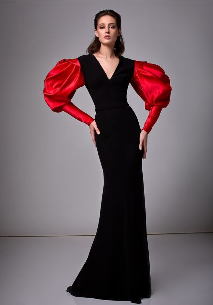 Black Crepe Gown With Puffed Sleeves