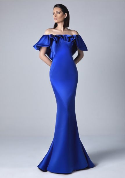 Satin Evening Gown With Ruffles