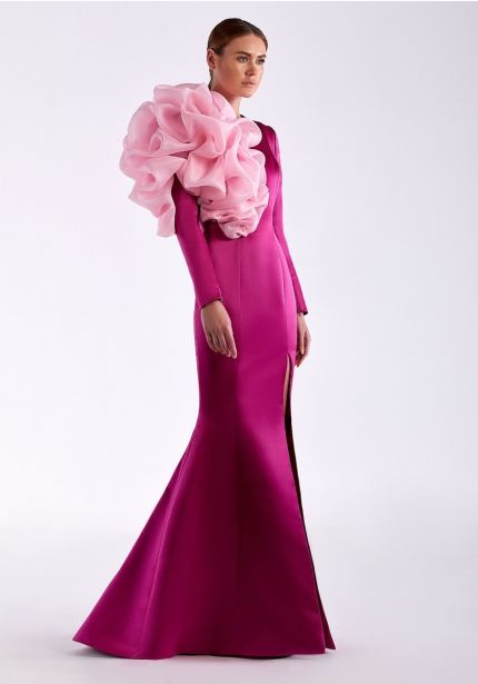 Pink Slit Gown With Ruffles