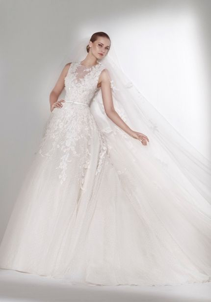 Embroidered Flowers Tulle Wedding Dress