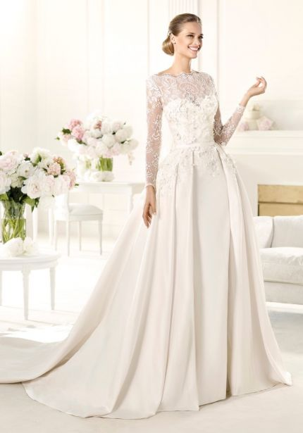 Embroidered Long Sleeves Satin Ball Gown
