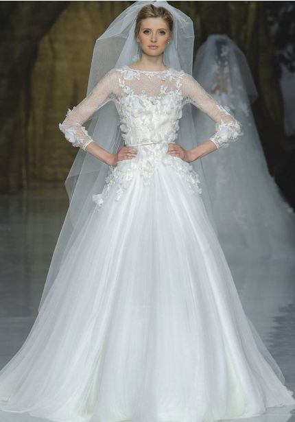 Floral Blossom Tulle Ball Gown
