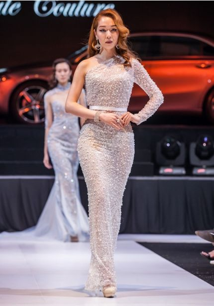 Heavily Beaded One-Shoulder Gown